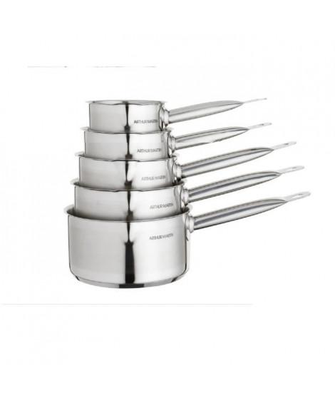 Série de 5 casseroles inox 12/14/16/18/20 cm professionnelle Arthur Martin