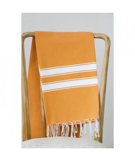 Fouta 100% coton Rayure A 100x200 cm orange