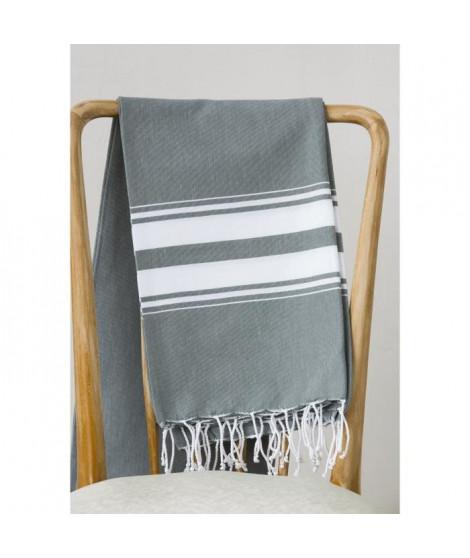 Fouta 100% coton Rayure B 100x200 cm gris