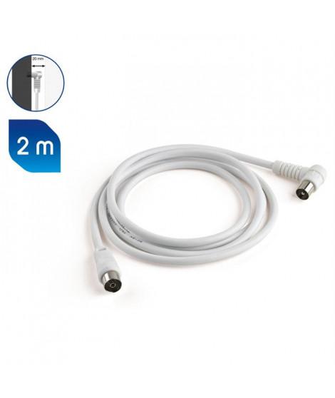 MELICONI Câble antenne - 75 Ohm - Adapteur mâle / mâle inclus - 2 m
