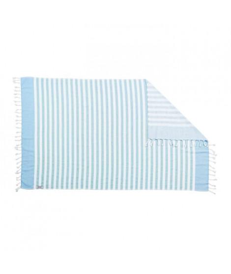 DONE Serviette Hammam Cairo - Cyan & Bleu - 90x160cm - 100% Coton - 300gr/m²