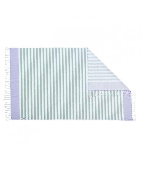 DONE Serviette Hammam Cairo - Vert & Mauve - 90x160cm - 100% Coton - 300gr/m²