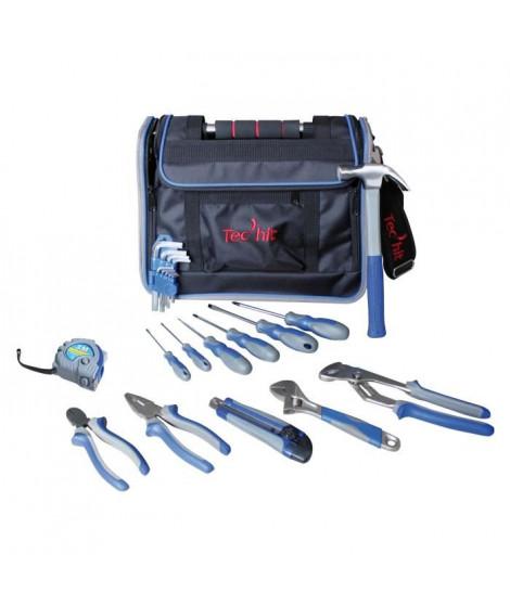 TEC HIT Sac d'outils 23 pieces avec rabat et poignée rigide