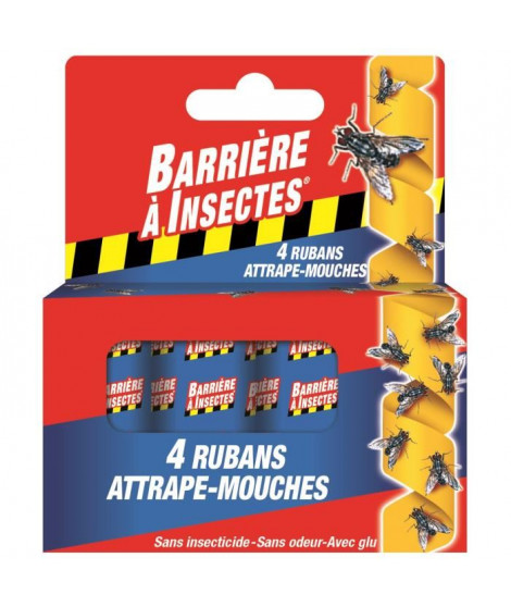 BARRIERE A INSECTES Ruban attrape-mouches - 4 rouleaux