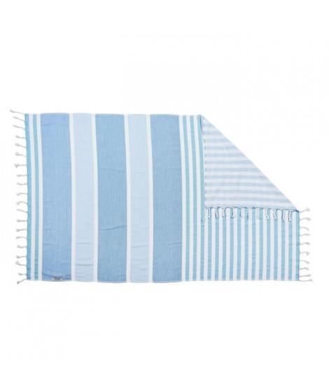 DONE Serviette Hammam Casablanca - Bleu - 90x160cm - 100% Coton - 300gr/m²
