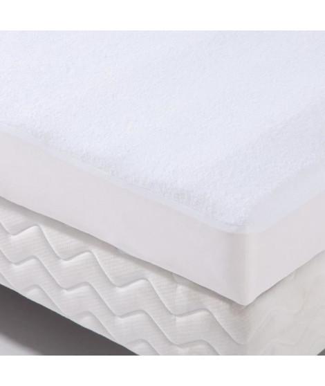 Protection literie housse imperméable Transalese éponge 100% coton 180x200 cm blanc