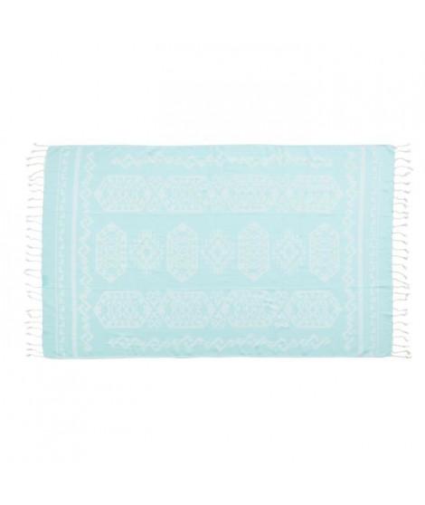 DONE Serviette Hammam Caya - Turquoise - 90x180cm - 100% Coton - 230gr/m²