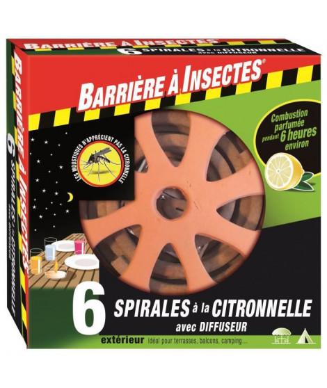 BARRIERE A INSECTES Spirales a la citronnelle avec son diffuseur décoratif en terre cuite - Etui de 6 spirales + diffuseur