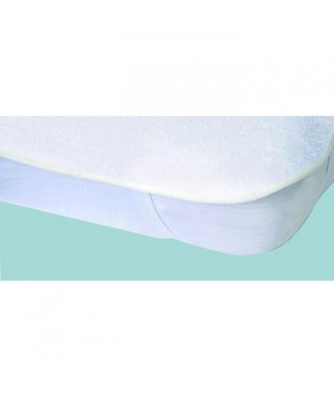 Protege-matelas imperméable Elasretane éponge bouclette 100% coton 140x190 cm blanc