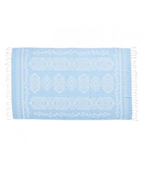 DONE Serviette Hammam Caya - Bleu clair - 90x180cm - 100% Coton - 230gr/m²