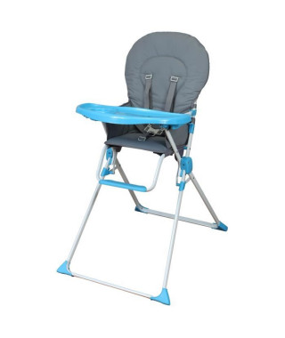 BAMBIKID Chaise Haute Fixe - Gris & Turquoise