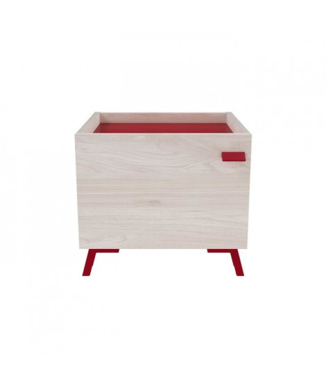 NEILS Chevet scandinave mélaminé décor chene orme et rouge mat - L 40 cm
