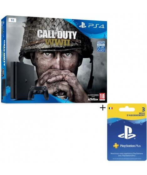 Nouvelle PS4 Slim Noire 1 To + Call of Duty World War II + Abonnement 3 mois + Qui-es-tu ? (Jeu PlayLink a télécharger)