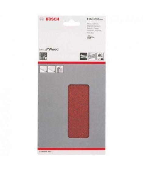 BOSCH Papier abrasif pour ponceuse vibrante avec bande auto-agrippante - Perforé - Grain 40 - 230 mm x 11