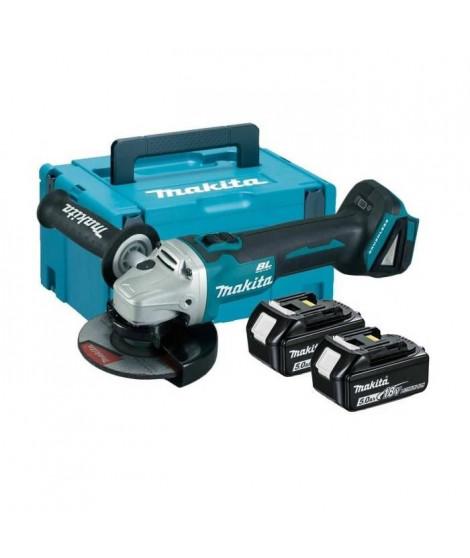 MAKITA Meuleuse d'angle Brushless DGA506RTJ 125 mm avec 2 batteries 18 V 5 Ah Li-ion et coffret Makpac
