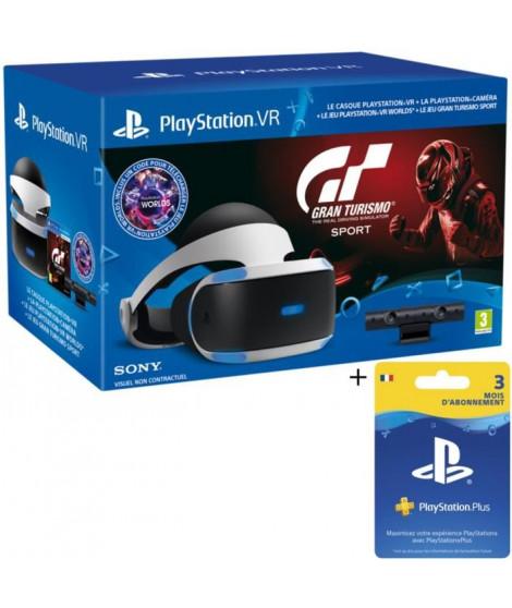PlayStation VR + PlayStation Caméra + Gran Turismo Sport + VR Worlds (Jeu a télécharger) Qui-es-tu ? + Abonnement 3 mois