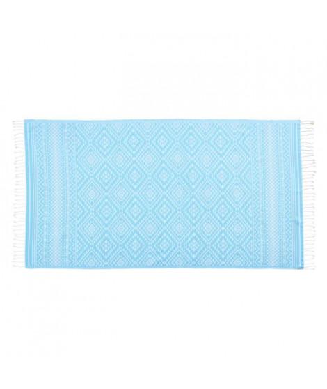 DONE Serviette Hammam Cisha - Turquoise - 90x180cm - 100% Coton - 230gr/m²