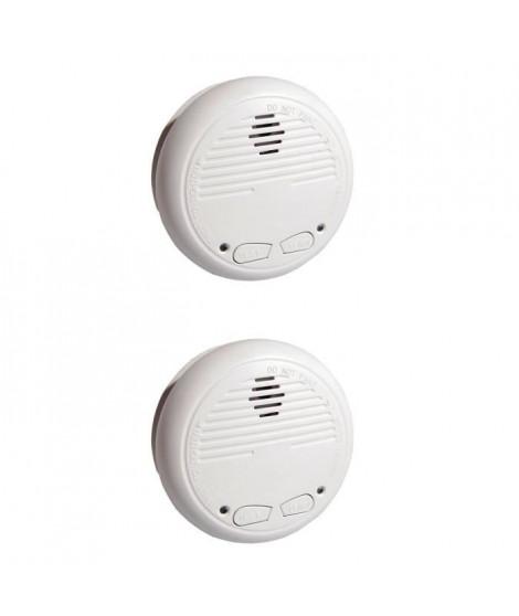 CHACON 2 Détecteurs de fumée optiques interconnectables sans fil avec batterie 9V