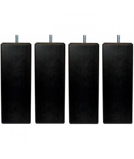 Jeu de pieds carrés L 7 cm x l 7 cm H 14,5 cm - Noir - Lot de 4