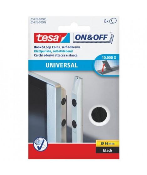 TESA Pastilles auto-agrippantes - Ø 16mm - Noir - 8 pieces