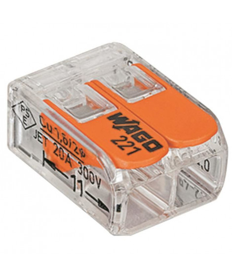 WAGO Pack de 10 Bornes de connexion universelle tous conducteurs - Type 221/2 entrées
