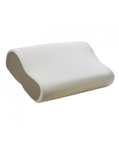BULTEX Oreiller Ergonomic a mémoire de forme 3D déhoussable 52x33 cm blanc et gris taupe