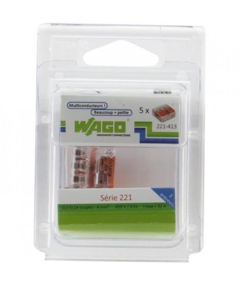 WAGO Pack de 5 Bornes de connexion universelle tous conducteurs - Type 221/ 3 entrées