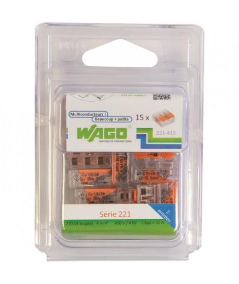 WAGO Pack de 15 Bornes de connexion universelle tous conducteurs - Type 221/ 3 entrées