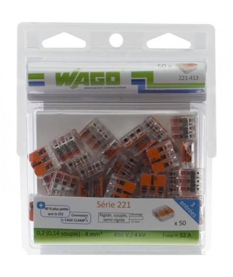 WAGO Pack de 50 Bornes de connexion universelle tous conducteurs - Type 221/ 3 entrées