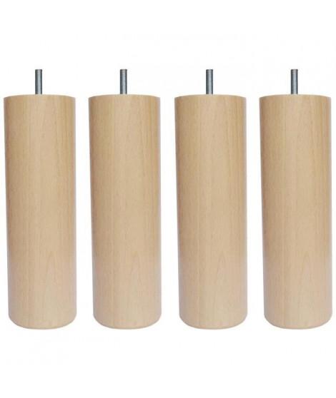 Jeu de pieds cylindriques Ø 6,2 H 17 cm Incolore - Lot de 4