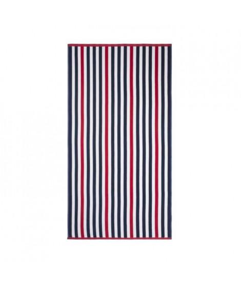 JULES CLARYSSE Drap de plage velours OCEAN LINE Rouge & Bleu - 90x170cm