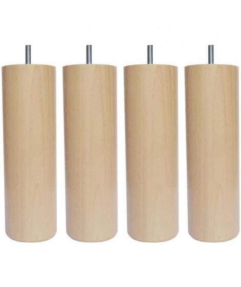 Jeu de pieds cylindriques Ø 6,2 H 24,5 cm Incolore - Lot de 4