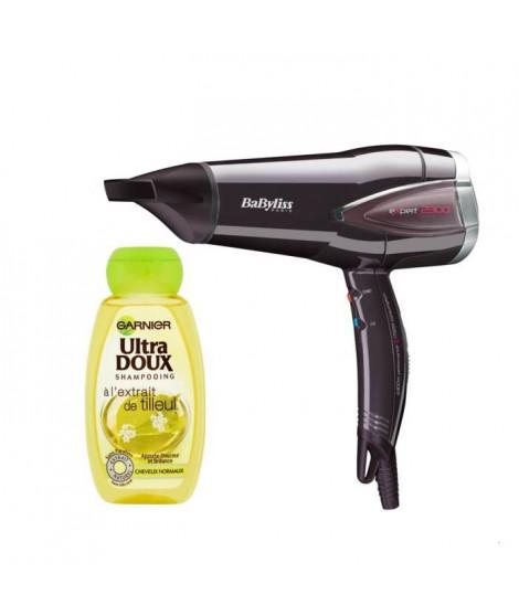 Pack : BABYLISS Seche-Cheveux Expert Protect D362E + GARNIER Ultra Doux Shampoing - Cheveux normaux - Tilleul - 250ml
