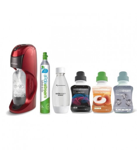 SODASTREAM MÉGA PACK Machine a soda Dynamo Rouge + 3 concentrés + 1 bouteille + 1 cylindre
