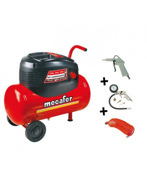 MECAFER Compresseur d'air 24L 1,5HP Oil Home Master Kit