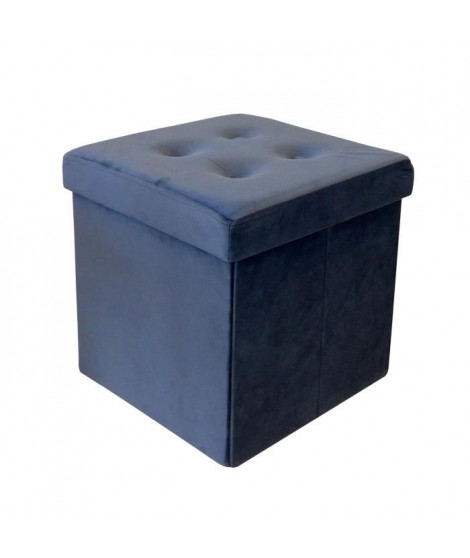 Pouf coffre pliable - 35 x 35 x 35 cm - Bleu