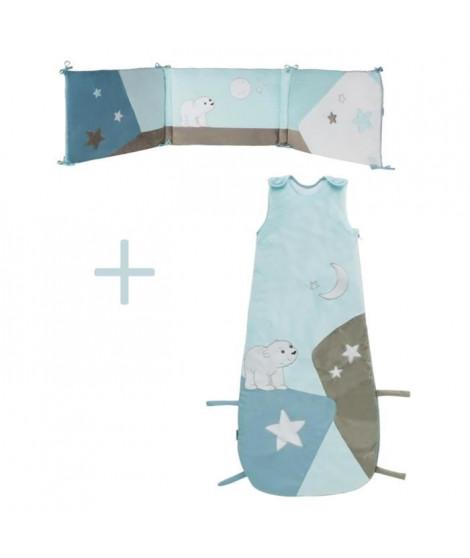 DOMIVA Ensemble tour de lit / gigoteuse Flocon l'ourson - Bleu et marron - 6-36 mois