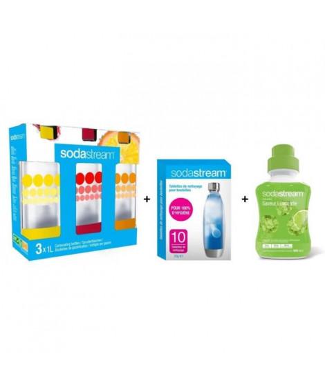 Pack SODASTREAM Accessoires : Lot de 3 bouteilles 1L + Lot de 10 pastilles de nettoyage + Concentré limonade