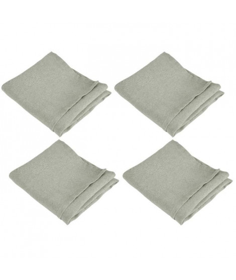 VENT DU SUD Lot de 4 serviettes de table SYMPHONIE 100% lin 50x50 cm taupe