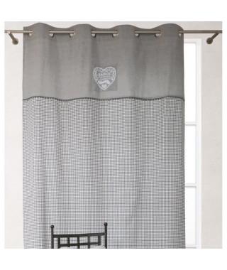 SOLEIL D'OCRE Rideau Chambres d'Hôtes 100% coton 140x240 cm gris et blanc