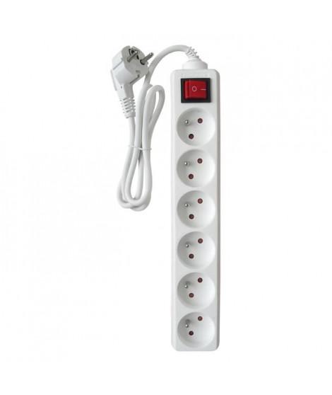 ZENITECH Bloc multiprises 6 prises 16A avec interrupteur blanc