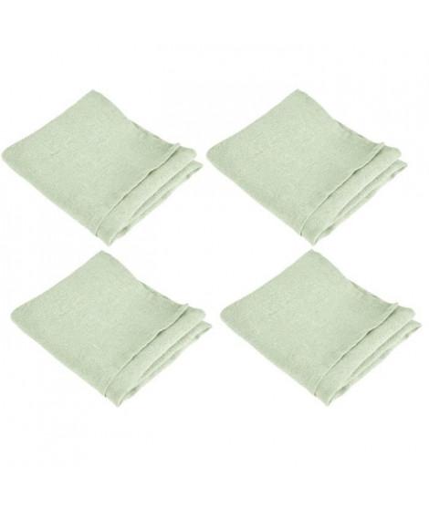 VENT DU SUD Lot de 4 serviettes de table SYMPHONIE 100% lin 50x50 cm tilleul
