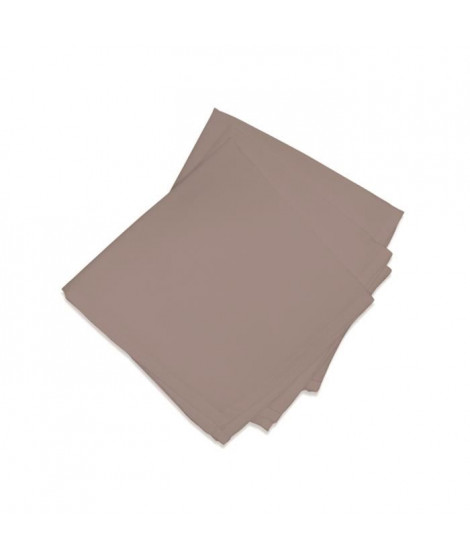 SOLEIL D'OCRE Lot de 3 serviettes de table ALIX Moka