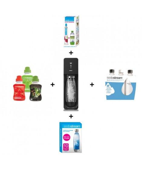 MÉGA PACK SODASTREAM : Machine Source noire + 3 bouteilles d'1L + Cylindre CO2 + Pastilles de nettoyage + 3 concentrés de 500 ml