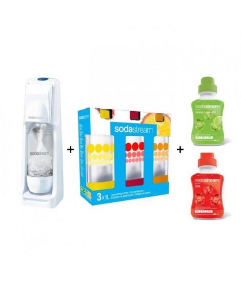 MEGA PACK SODASTREAM : Machine Cool blanche + 3 bouteilles d'1L + 2 concentrés de 500 ml