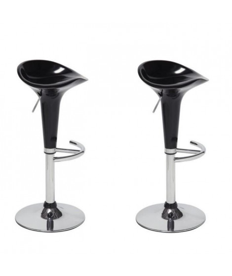 POP Lot de 2 tabourets de bar noirs