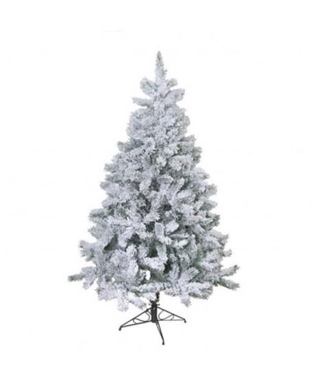 Sapin de Noël floqué blanc 42 branches 150 cm