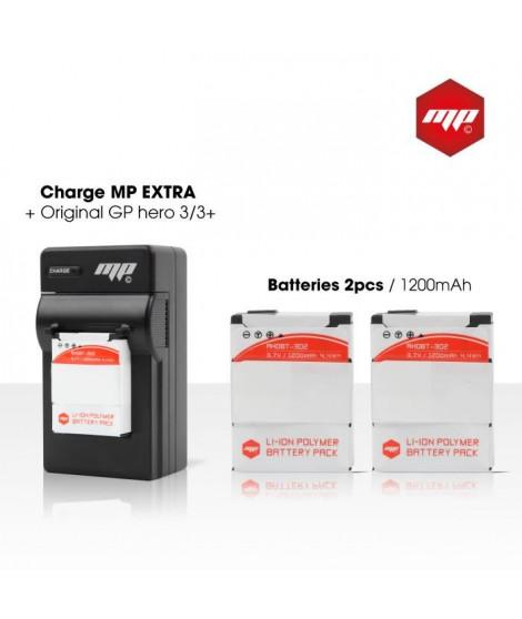 MP EXTRA  5F-LG4Q-FU5Y  Pack de 2 batteries + chargeur pour GoPro 3+ et GoPro 3
