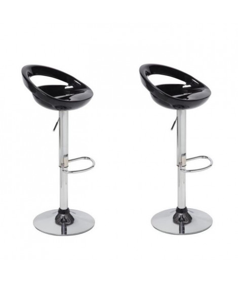 MOON Lot de 2 tabourets de bar noirs