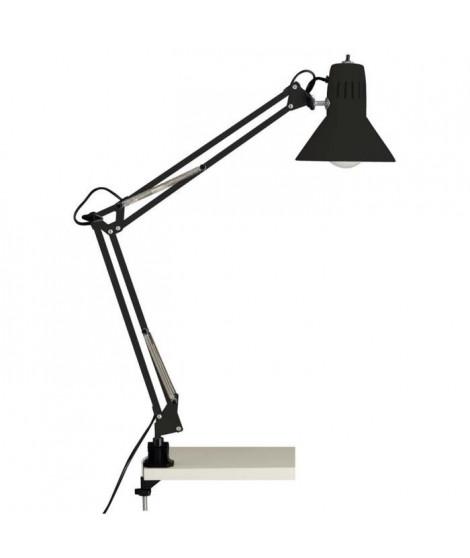 BRILLANT Lampe de bureau articulable avec interrupteur et fixation Hobby E27 40 W noir